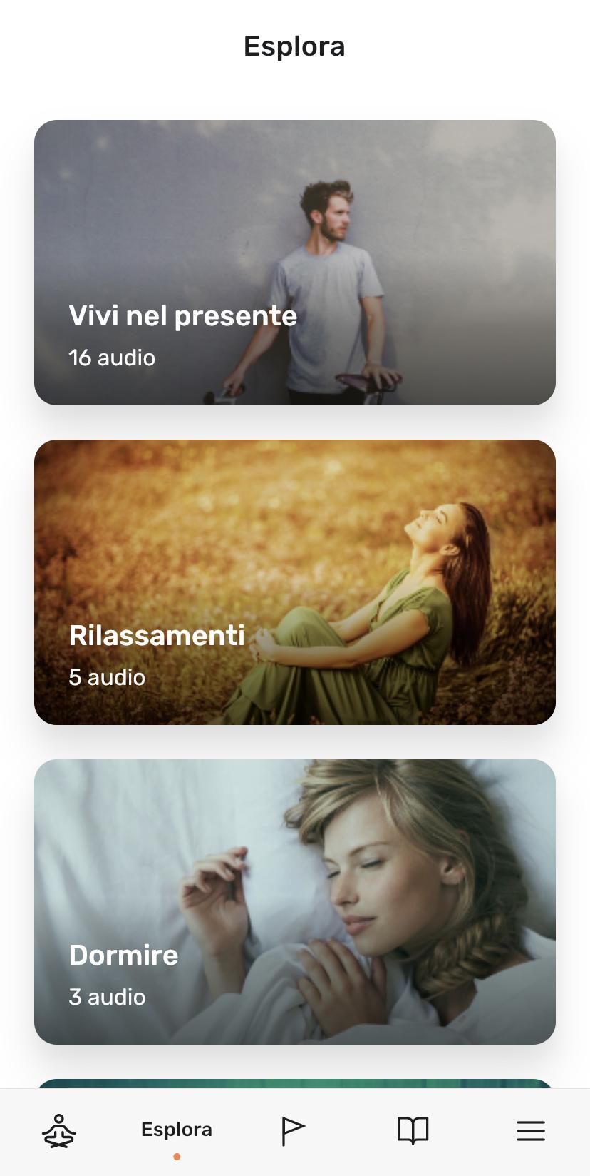 screenshot della sezione Esplora in Clarity app