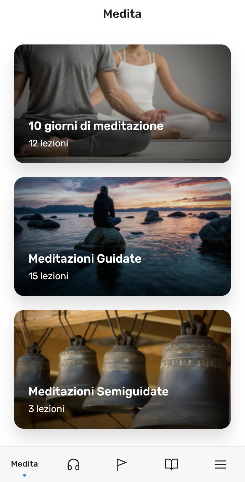 screenshot delle sezione medita di Clarity app