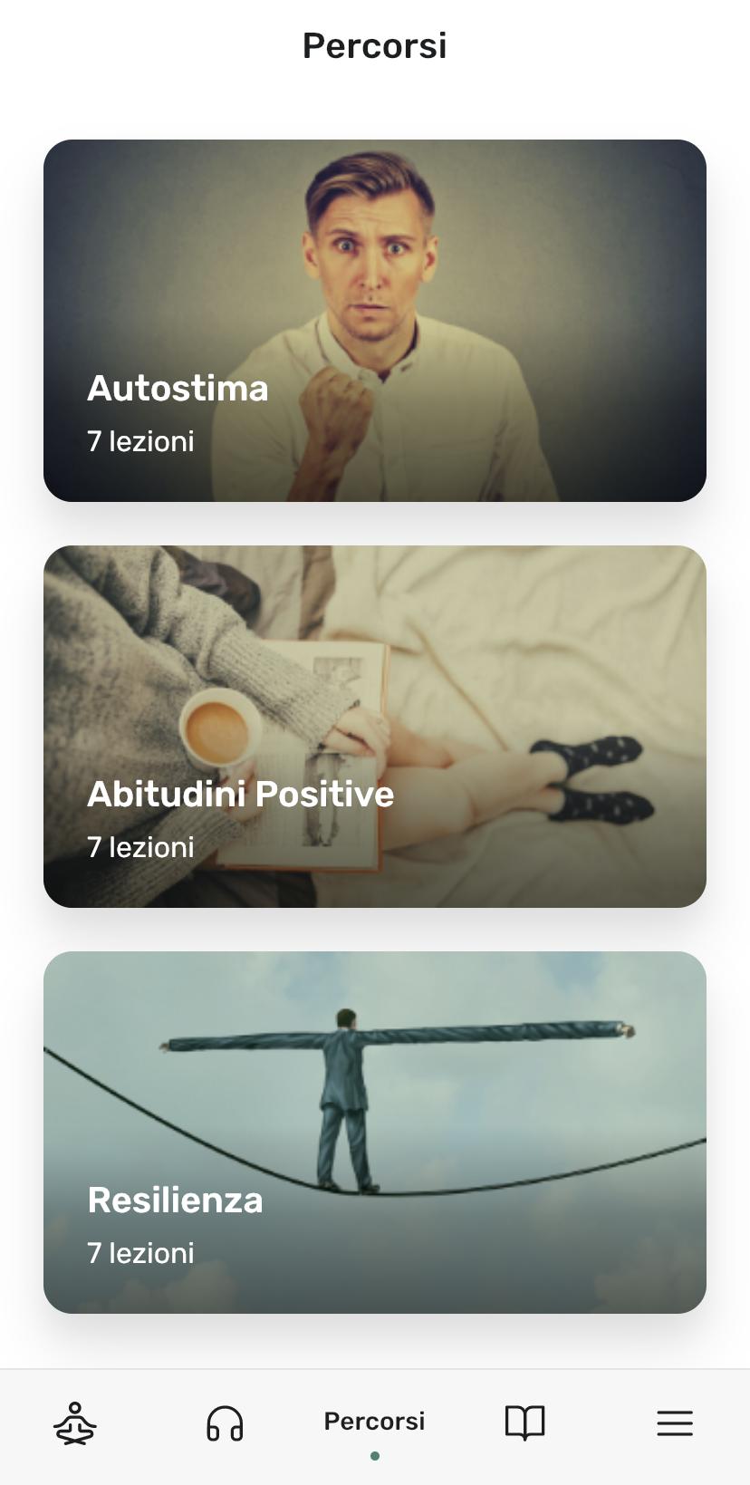 screenshot sezione Percorsi in Clarity app
